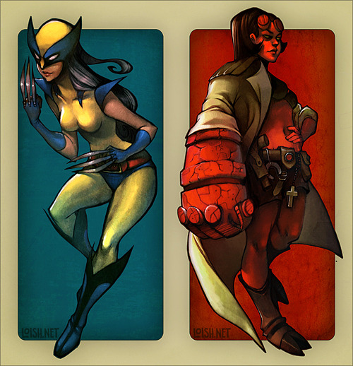 Wolverine & Hellboy Rule 63, by Loish