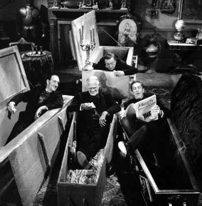 gdfalksen:  Vincent Price reads to Peter Lorre, Boris Karloff, and Basil Rathbone   LEGENDS!