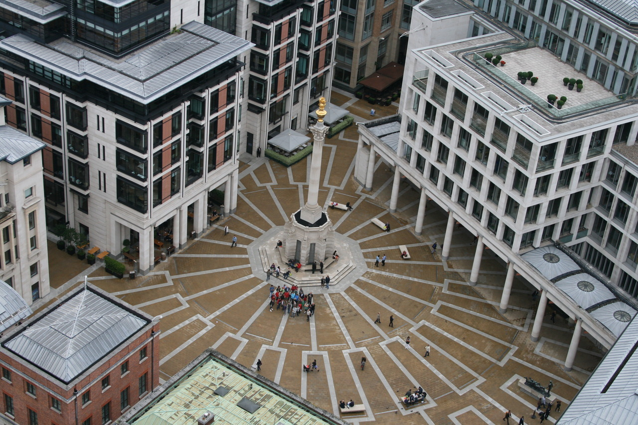 Paternoster Square from the top of St. Paul's.  London, August 2011.