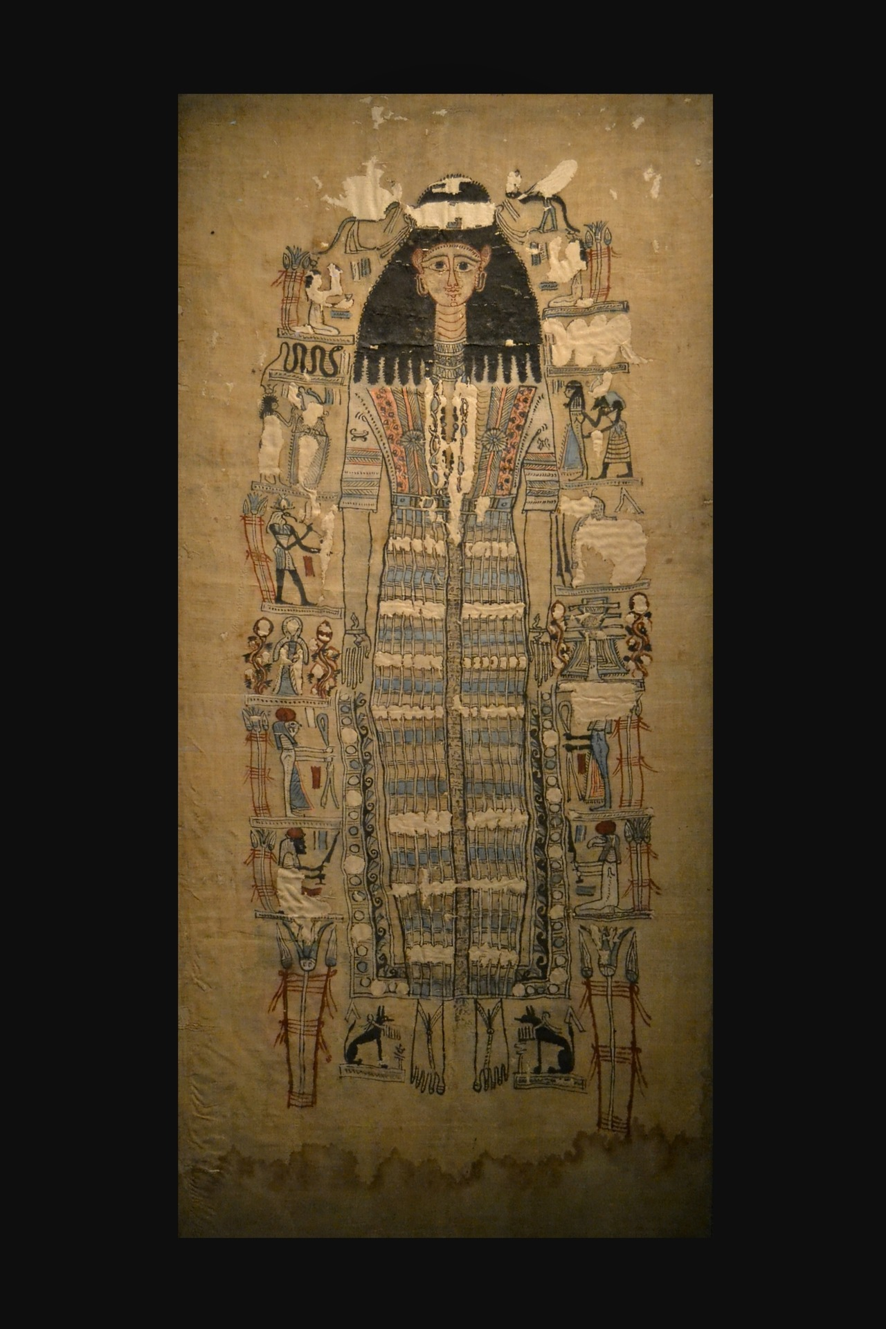 ancientart:  The Ancient Egyptian shroud of the mummy of Tasheritdjedhor-Sensaos, who was the daughter of the archon (governor) of Thebes and died in 109 AD, at the age of sixteen. From the collection of the National Museum of Antiquities - Leiden, Netherlands.