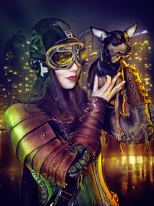 purrsz:  Dieselpunk city.   by Rebeca Saray.
