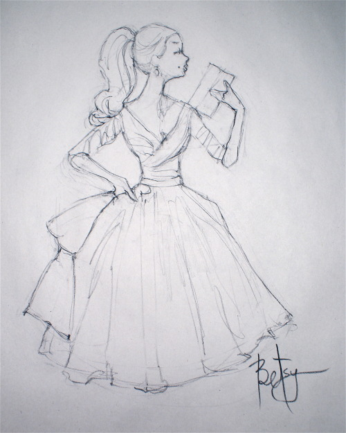 Drawing.  Charcoal pencil on Newsprint paper. Inspired by vintage Barbie artwork.