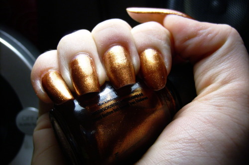 "offonmyown:  China Glaze- ""Harvest Moon""- from the Hunger Games collection, D9 Grain Finally got around to wearing most of these, expect some queued up posts in the next few days of swatches. I didn't really like the formula or color on this one."