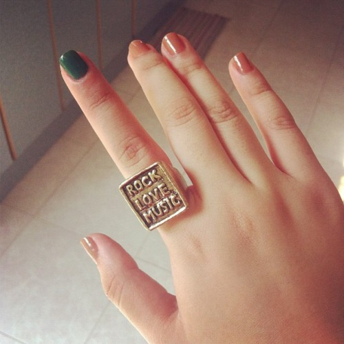 rock love music~ #ring #fashion #peppycaché #fashionforless #cutefinds #cheapthrills #accessory #nailpolish 😊 (Taken with Instagram)