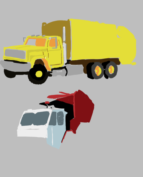 fatmalovestodraw:  WIP. Drawing garbage trucks from google images.