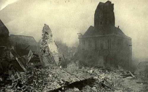 The ruins of Bapaume sometime during or at the tail end of the Second Battle of Bapaume