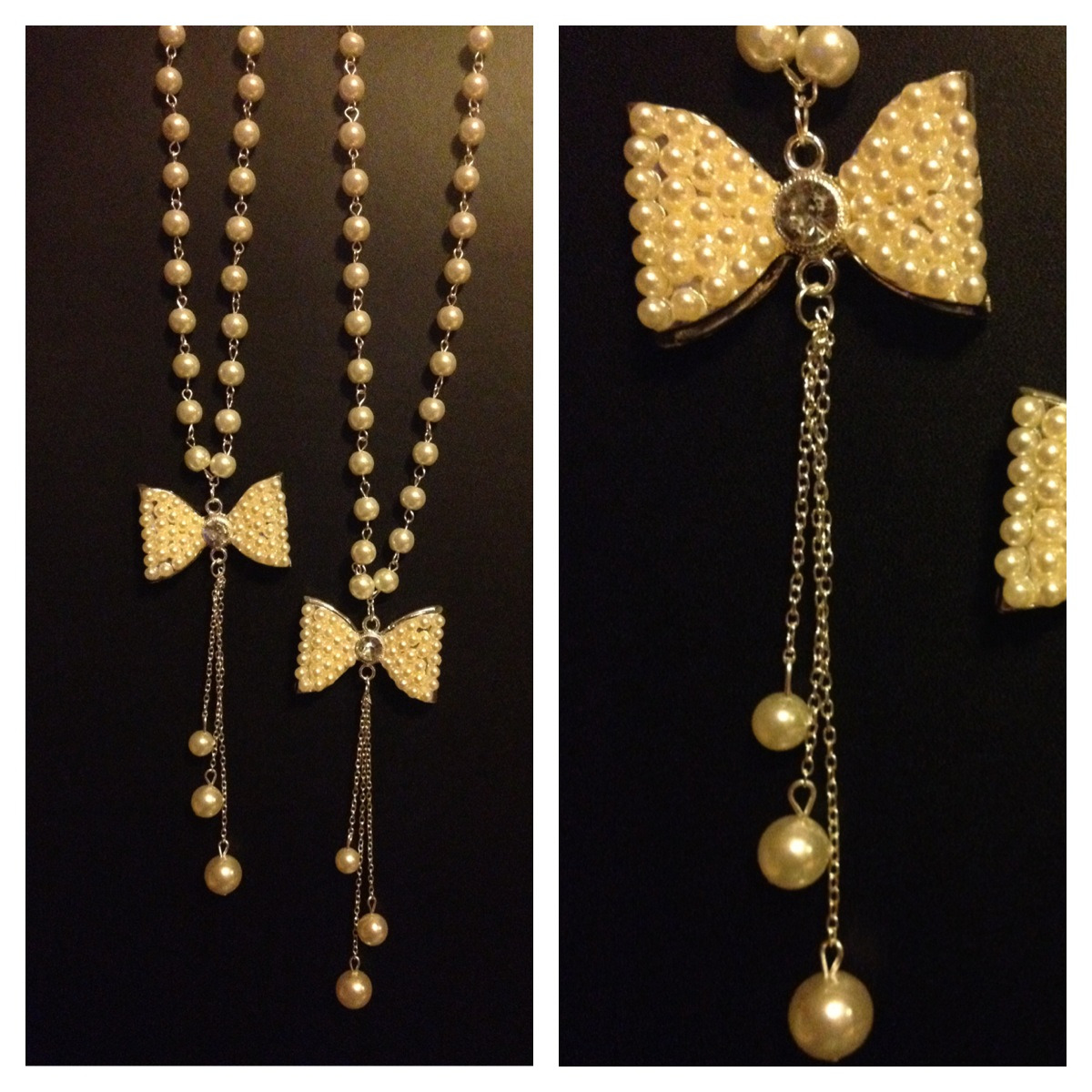 """Pearly Bow"" Necklace Long length $9 ( I only bring in a few - NO HOLDS)"