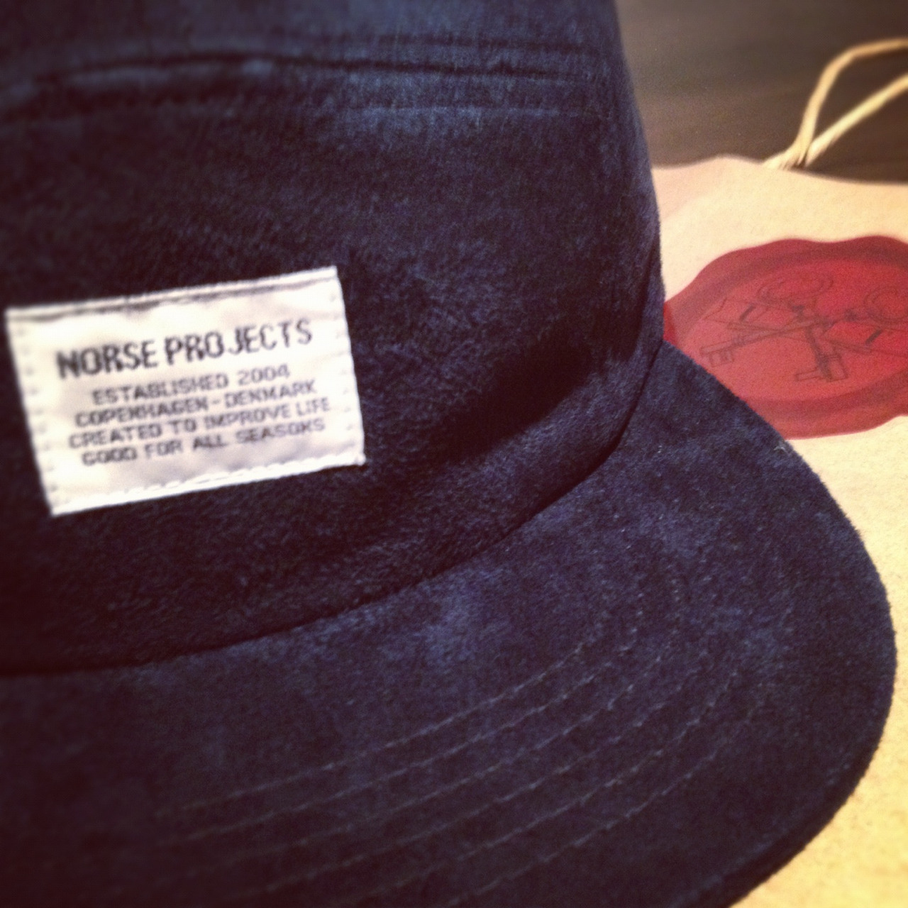 Norse Projects- Suede Navy 5 Panel Cap