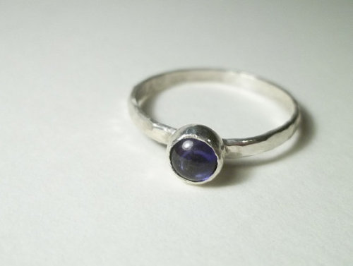 5mm Sapphire Cabochon on Hammered Sterling Silver Ring
