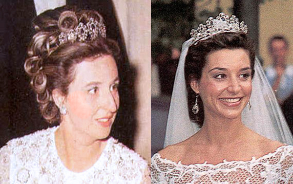 The Infanta Pilar's sapphire tiara: on the Infanta and on her daughter-in-law Bárbara.