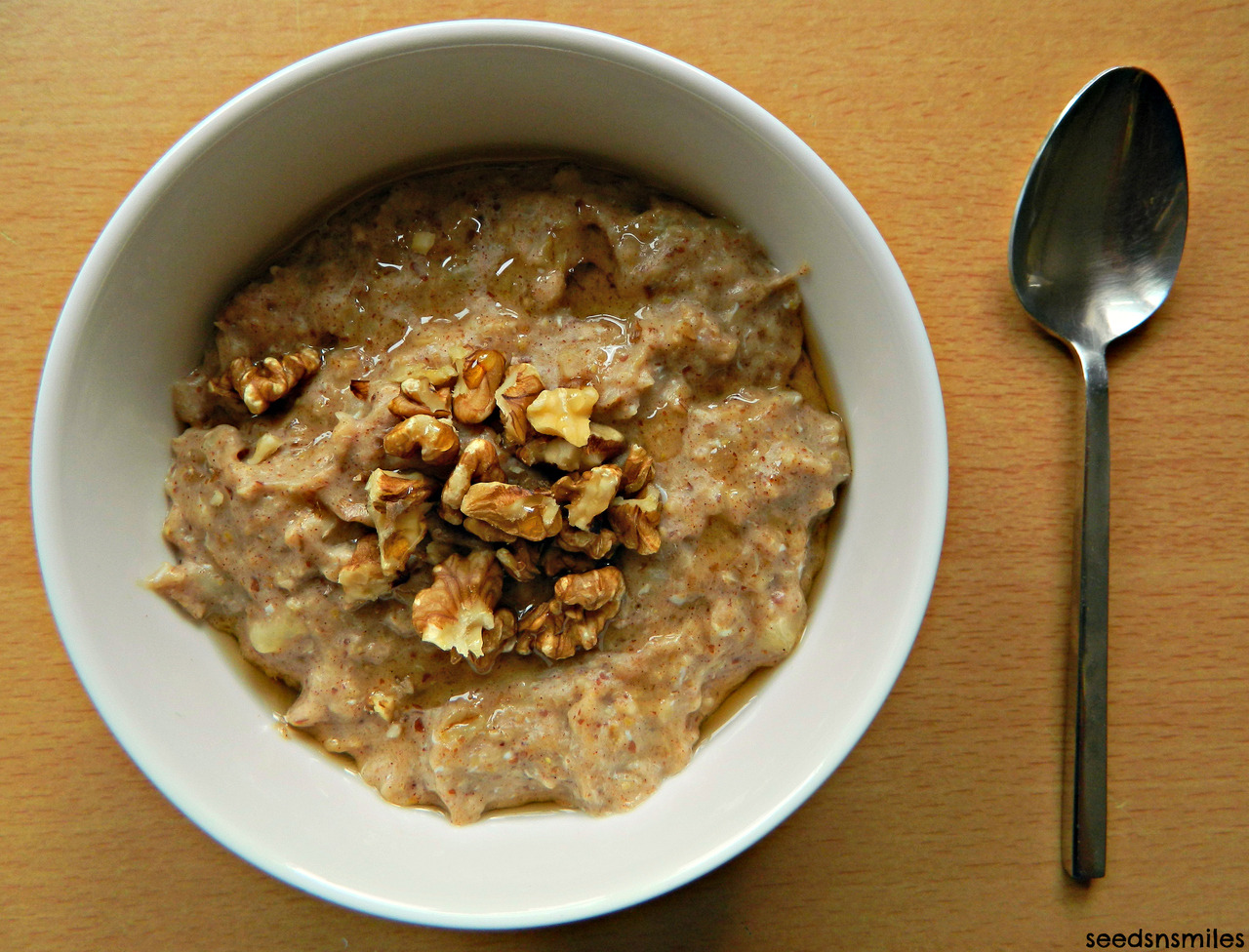 French Toast Oatmeal with Walnuts and Maple Syrup. (recipe can be found here.) To make vegan, replace the egg with 2 or 3 tbsp of plain or vanilla soy yoghurt. It makes it just as creamy! I've never used silken tofu before, but I think that might give the same effect, too.