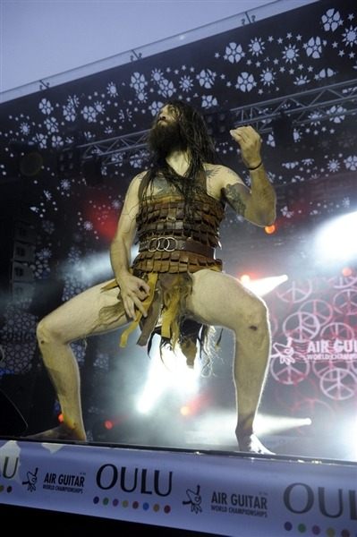 "breakingnews:  USA's 'Nordic Thunder' wins world air guitar championship American Justin Howard, a.k.a. ""Nordic Thunder,"" was crowned world champion air guitar player in Oulu, Finland, narrowly defeating his compatriot Matt Burns, a.k.a. ""Airistotle."" Read more from Reuters. Photo: Justin Howard, alias Nordic Thunder. (Lehtikuva / Reuters)  Does everyone else just think ""Xena"" upon seeing this?"