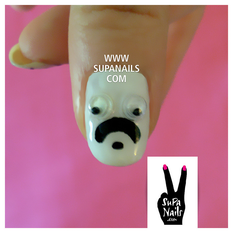 He looks a bit like Flanders, doesn't he? #nails #nailart #supanails #mustache #flanders #funny #cute
