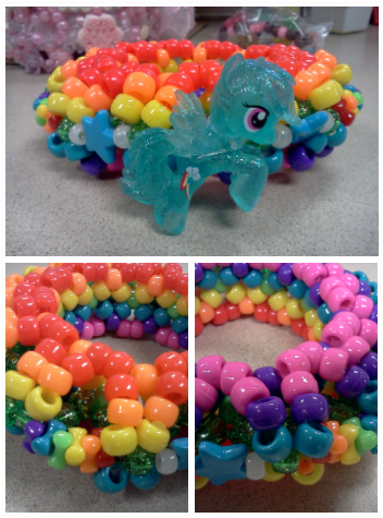 mini-ufo Rainbow Dash~ bottom left: top view of cuff Bottom right: bottom view of cuff.