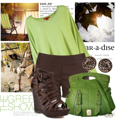 Untitled #1070 by snippins featuring brown wedges ❤ liked on PolyvoreShamask dolman top, $450 / Dressy shorts / True Religion brown wedge / Brown jewelry / Check out our bags - 00292 Kardashian Kollection Small Grip Handle Bag…, $73