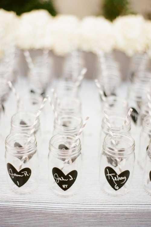 sweepmeup:  Chalk on jar escort cards