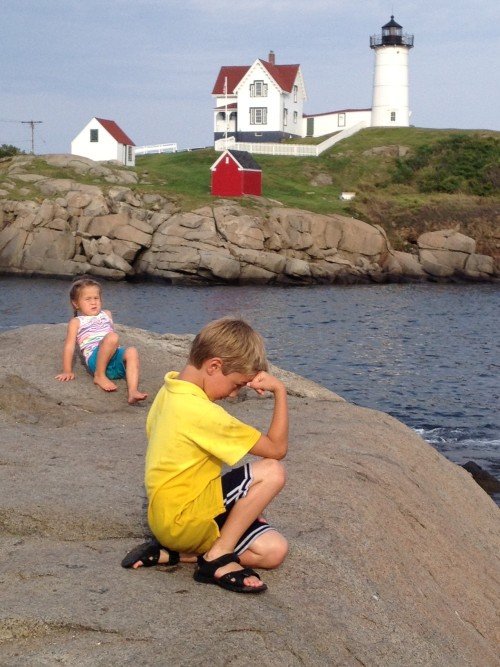 Tebowing at the Nubble Lighthouse, Maine.