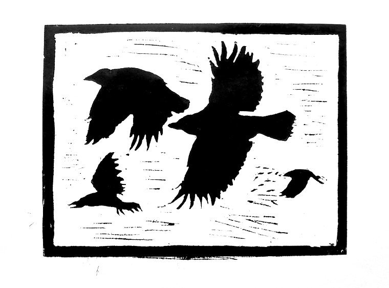 "Crows lino print (work-in-progress - still needs some work) Print size: 8"" x 6"""