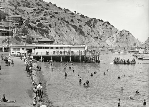 "ca 1910 Catalina Island, California, USA ~""Avalon Bay Aquarium wharf and beach""; 5""x7"" glass negative, Detroit Publishing Co. via"