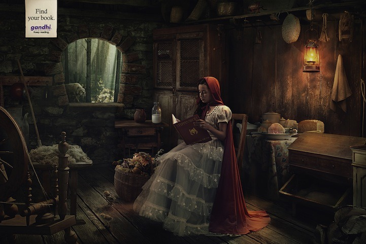 Little Red Riding Hood reading Steppenwolf by Hermann Hesse.