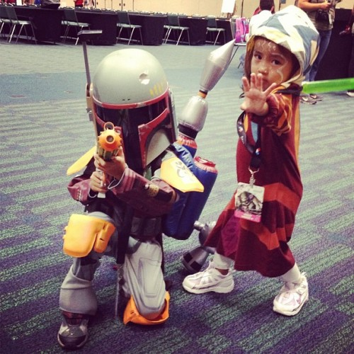 Mini Boba Fett & Ahsoka Tano join forces in the kids craft room!  #swcvi (Taken with Instagram at Star Wars Celebration VI)