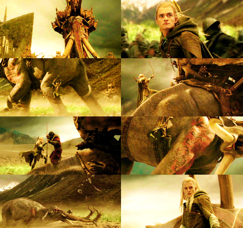Legolas climbing the Mûmakil ✐ requested by z-akhia