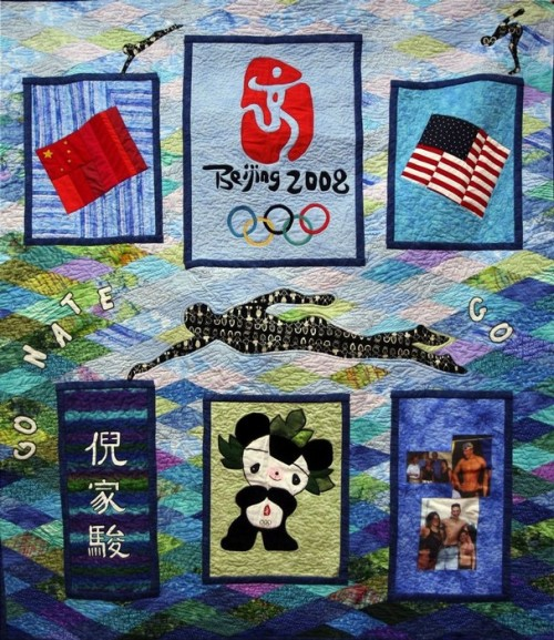 "yeahbuddynathanadrian:  The quilt his Aunt Rose made for him back in 2007. :"") Oh, on the lower left is his name in Chinese."