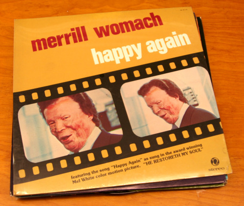 "Public Collectors Trading Post: Merrill Womach Record Collection I'm reopening the Public Collectors Trading Post as a way of trying to officially end my morbid fascination with the records of Merrill Womach. For those who have never encountered Merrill's records, here are the details of his story from his page on Wikipedia: ""Merrill Womach (February 7, 1927 in Spokane, Washington) is an American undertaker, organist and gospel singer, notable both for founding National Music Service, which provides recorded music to funeral homes across America, and for surviving an October 26, 1961 plane crash in Beaver Marsh, Oregon that left him disfigured with third degree burns over most of his body. Womach authorized an autobiography of his recovery titled Tested by Fire, co-authored by his former wife Virginia and Mel White. A documentary film titled He Restoreth My Soul was also made about his accident and subsequent recovery."" This collection includes the following records: My Song (1960), A Time For Us (1969), Surely Goodness and Mercy (1970), Happy Again (1974 - two different versions, one still sealed!), Mine Eyes Have Seen The Glory (1976), In Concert (1977), Merrill (1981), The condition of these records is generally excellent - aside from some thrift store stickers on many of the covers. This collection is not for sale, only for trade. I'll hear any offers you wish to make. You can offer other records, books, 'zines, food, or anything else you feel could be of interest. The last time I opened the Public Collectors Trading Post I traded a big box of Grateful Dead bootlegs for a bottle of really good bourbon and everyone went home happy. I will ship these anywhere in the world, however due to the weight, U.S. shipping is preferred. Email me and let me know what you've got: marc [at] publiccollectors.org"