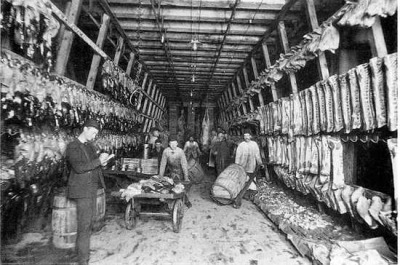 Storeroom (unrefrigerated?) at the Stockyards, 1890, Chicago. Notice the pig heads at the top right.
