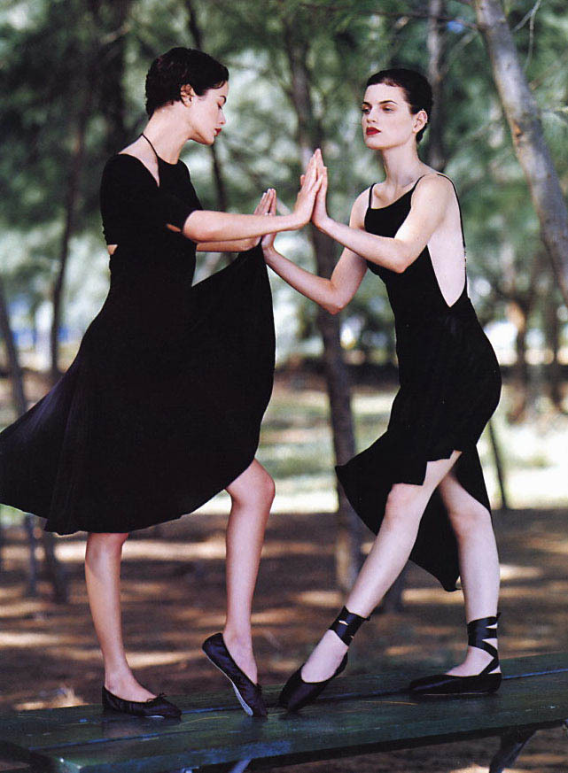 "bienenkiste:  ""Shall we dance?"" Guinevere van Seenus and Carolyn Murphy by Bruce Weber for Vogue US February 1997"