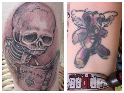 These are my 4th(teddy) and 5th(skeleton) tattoos both done about two and a half years ago. The skeleton is a drawing by Mark Ryden and the Teddybear is a painting by Derek Hess, two of my favourite artists and biggest inspirations. Both were done at Wildcat Ink in Dublin, Ireland. Kris Barnas did the skeleton but I can't remember the name of the woman who did the bear and she no longer works there.