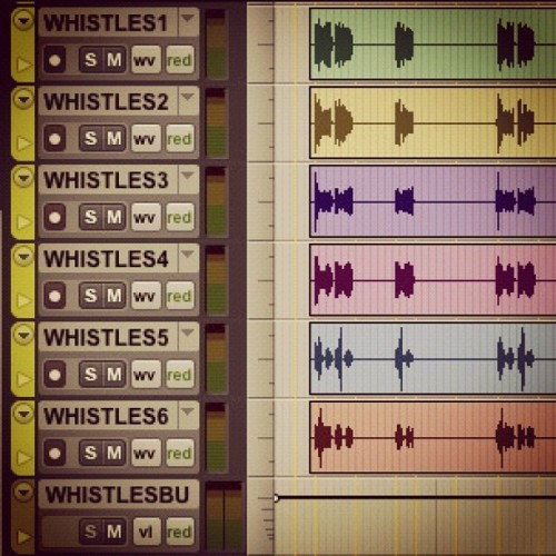 Stacking up whistle parts. #protools #recording #layers (Taken with Instagram)