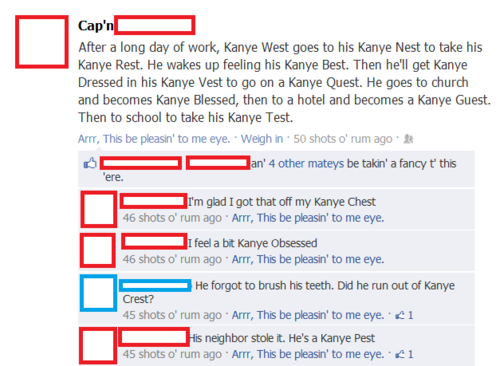 thedailywhat:  The Kanye Best of the Day: Don't get Kanye Stressed — get Kanye Caressed with this Kanye Zest.  [pleatedjeans]  It's all a bit of a Kanye Fest!  Sorry.