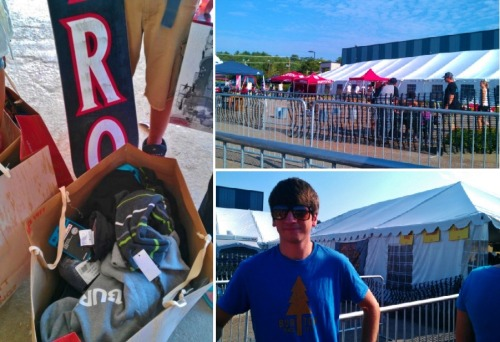 Burton Snowboards summer tent sale, at their headquarters in Burlington, Vermont. 75% all their inventory from this past season. Our family of six spent $700, saved $2,000! Even with christmas gifts thrown in for significant others. Little brother got a snowboard/bindings for $100 also. I love this sale! (it's going on til 5pm tomorrow if you're in the area!)