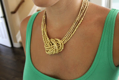 (via The Sweet Survival: Statement Necklace Part I - Golden Knot Necklace) Next project.