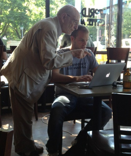 usersillusions:  Bloke sits in a coffee shop with Macbook. An old man talks to him. That old man turns out to be amazing. http://joelrunyon.com/two3/an-unexpected-ass-kicking (via @piersb)