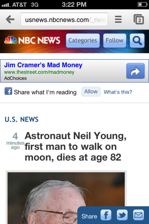 NBC managed to confused Neil Armstrong, who walked on the moon, with Neil Young, who wrote a lot of good songs. Good grief. (Pic 1, Pic 2)