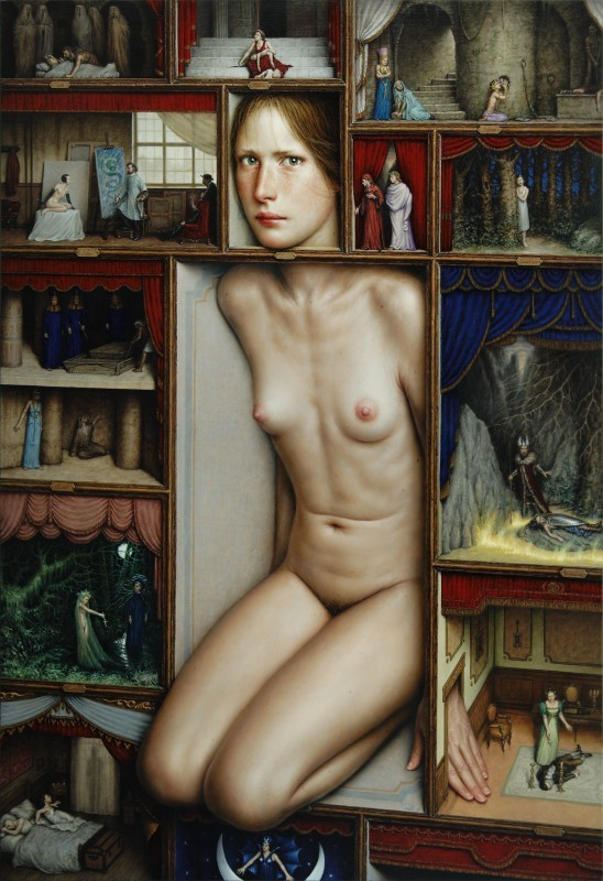 PROSCAENIA by Dino Valls, 2011. Oil on panel, 100 x 70 cm.
