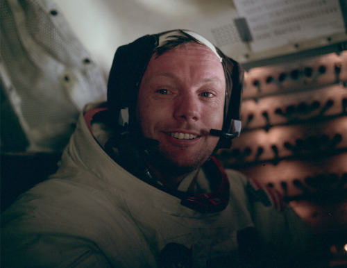 "crookedindifference:  Rest in Peace, Neil Armstrong  Buzz Aldrin took this picture of Neil Armstrong in the cabin after the completion of the first EVA. This is the face of the first man to set foot on the Moon, just hours earlier, on July 20th, 1969.  Neil Armstrong was a quiet self-described nerdy engineer who became a global hero when as a steely-nerved pilot he made ""one giant leap for mankind"" with a small step on to the moon. The modest man who had people on Earth entranced and awed from almost a quarter million miles away has died. He was 82. Looks like Yan from British Sea Power a bit, no?"