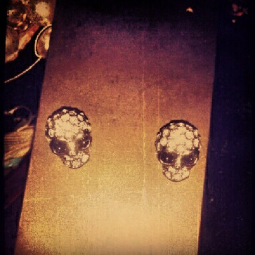 Got some new earings!! #Skull. #Pretty. (Taken with Instagram)