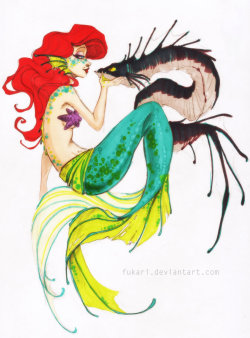 trulyamazingart:  Little Mermaid by Fukari I like this version of the little mermaid. It's cool and different