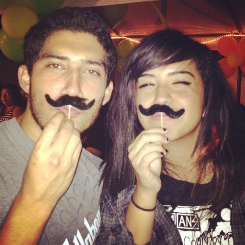 @cheeeesetoast!! With our fancy mustaches. ;) #mustache #homie (Taken with Instagram)