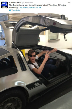 becks28nz:  The Doctor swaps his TARDIS for a Delorean for the evening…. (Matt Smith : Asylum of the Daleks screening)