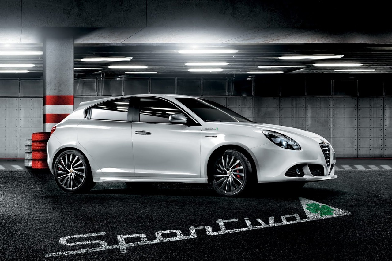 "2013 Alfa Romeo Giulietta Sportiva  The Sportiva version is based on the Veloce trim, adding larger red Brembo brake callipers mounted inside 18-inch spoke design alloy wheels with a dark titanium finish, leather sport seats, plus a rear armrest with storage compartment and sport kick plates.  Alfa says that new Sportiva trim gives the customer ""£3,000 worth of luxury upgrades for an additional cost of just £1,860 OTR"". The Giulietta Sportiva is offered with a choice of six engines starting at £23,110 OTR for the 1.6 JTDM-2 105bhp.   (vía Carscoop)"