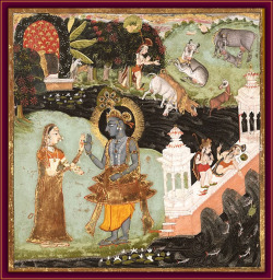 Krishna and Radha tryst on the bank of the Yamuna while Balaram is occupied at the dam…