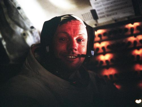 "Neil Armstrong after completing his first moon walk.‎ ""The important achievement of Apollo was demonstrating that humanity is not forever chained to this planet and our visions go rather further than that and our opportunities are unlimited.""  RIP Neil Armstrong"