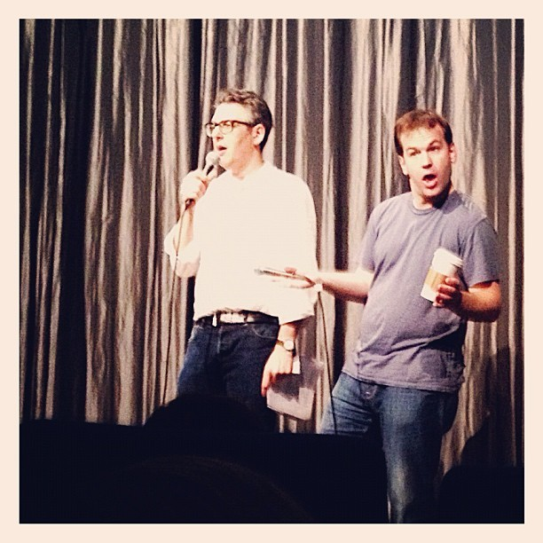 . @birbigs and @iraglass doing a karaoke duet during the @sleepwalkmovie Q&A. Ok not really, but seriously go #seesleepwalk! (Taken with Instagram at IFC Center)