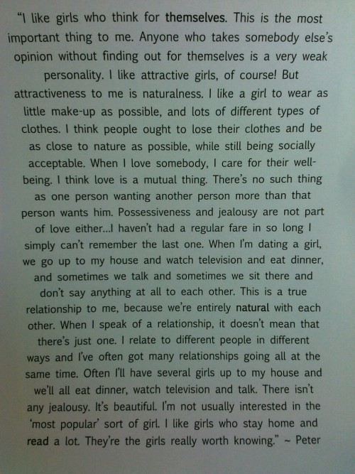 abigailjojo:  Peter Tork on girls and dating, Rave Magazine issue #53, June 1968  Pretty much admitting he likes his chicks naked and into orgies in a Teen Mag… Well done Peter, Well done.