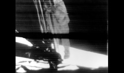 Television footage of the first human footstep on Lunar soil on July 20, 1969.