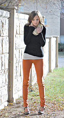 orange pants + stripped shirt + sweater + scarf = adorable fall outfit. (merricksart.blogspot.com)